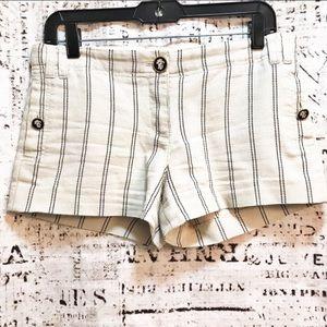 "Tory Burch Striped Cotton Shorts Button Pockets 3"""